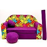 G34 Minicouch Kindersofa Baby Sofa Set Sitzkissen Matratze (G34 lila Puzzle)
