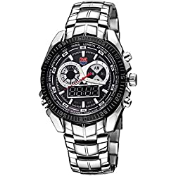 Gelunbu-Watch TVG Round Dial Glass Watch Window Luminous & Alarm & Week Display Function Quartz + Digital Double Movement Men Watch with Alloy Band