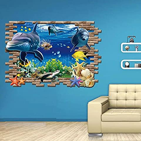 Ouneed Removable Sea Whale Fish 3D Wall Stickers For Kids Room Removable Decoration DIY PVC Sticker Wallpaper Decals