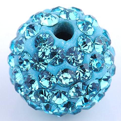 Amazing Disco Balls Clay Beads 10MM Aquamarine Light Blue Pave Czech Crystal Rhinestones fit Shamballa Premium Quality - 50pcs DIY By eART by eART