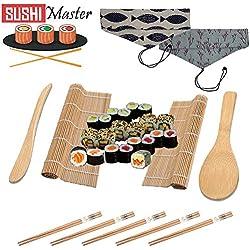Adleh Set per Sushi Fai da Te per Principianti, Borsa in Due Colori, 10 Pezzi Sushi Maker Kit (2 tappetini in bambù - 5 Bastoncini 2 cucchiai da Riso 1 Borsa), Sushi Giapponese Rosa
