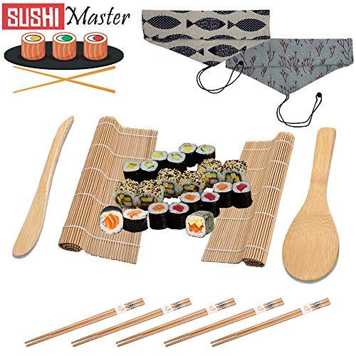 Sushi Master Sushi Set zum Selber Machen für Anfänger und Profis, Nette Tasche in Zwei Farben, 10 Teile Sushi Maker Kit, 2 Bambus Rollmatte 5 Stäbchen 2 Reis Löffel 1 Tasche, Japan Sushi Selber Rollen
