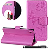 Xperia XA1 Ultra Hülle,HUDDU Spiegel Mirror Handyhülle Schmetterling Blume Wallet Case Cover Standfunktion Lederhülle Mädchen Kosmetikspiegel Schutzhülle Sony Xperia XA1 Ultra - Pink