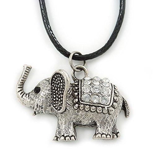 Colgante con elefante de cristal claro de piel de color negro con cable quemados tono plata - 40 cm L/4 cm Ext
