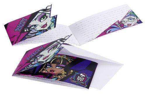 6Neue Monster High Einladungen und Umschläge (Halloween Monster High)