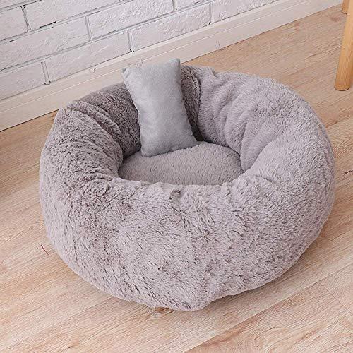 Kissen Tiefe Schlafen Geeignet Für Kleine Und Mittelgroße Hunde,Komfortables und Warmes Kuschelbett,Rundes Donut-Haustierbett,Hundekissen mit kuscheligem Plüsch-50 * 50 * 22cm-grau -