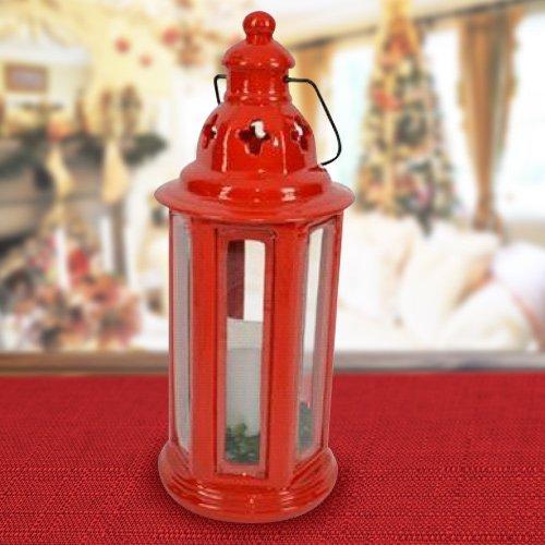 Lanterne ronde métal rouge avec bougie à piles 35 cm décorations de Noël décorations de Noël pour fêtes de Noël Christmas