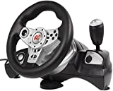 NanoRS RS600 Racing Steering Wheel + Pedals Gaming Controller Vibration Feedback PS3/PS2/USB/PC/Win7/Win8
