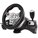 NanoRS RS600 Lenkrad PS3/PS2/PC(D-INPUT/X-INPUT) 4in1 Rennlenkrad Gas Bremspedale Pedale Steering Wheel Vibration Feedback