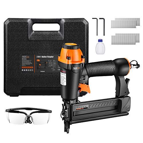 TACKLIFE 2-IN-1 Druckluftnagler, 18GA Drucklufttacker mit Nägeln und Klammern (je 200 Stück), für Nägel 15-50 mm und Klammern 16-40 mm, 100 Kapazität, rutschfester Griff für optimalen Komfort TK5040