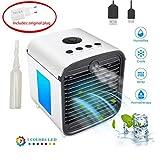 Raffreddatore d'Aria, Air Cooler Mini condizionatore portatile, Mini Umidificatore, Macchina per Aromaterapia, Nebulizzatore, 3 Velocità Selezionabili e con Luci LED (Bianco)