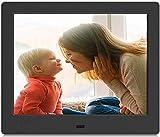 Winnovo D8 Cornice digitale fotografica da 8 Pollici,con presentazione -Musica, Video, Calendario, Supporto USB, Schede SD, Remote Control, Accensione e Spegnimento automatico - Nero