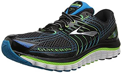 Brooks Men's Glycerin 12 Running Shoes 1101671D034 Black/Green Gecko/Atomic Blue 6 UK, 40 EU, 7 US