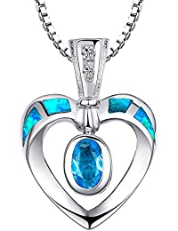 Arco Iris Jewelry Colgante de collar de la mujer de plata de ley con azul y verde ópalo de fuego y circonio cúbico, corazón abierto, cadena de veneciana, 46cm