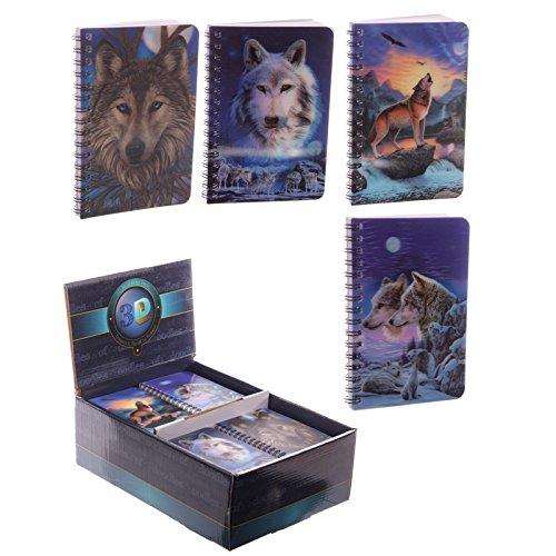 Set von vier 3D Wolf Design Notebooks ideal als Party Geschenk oder Strumpffüller