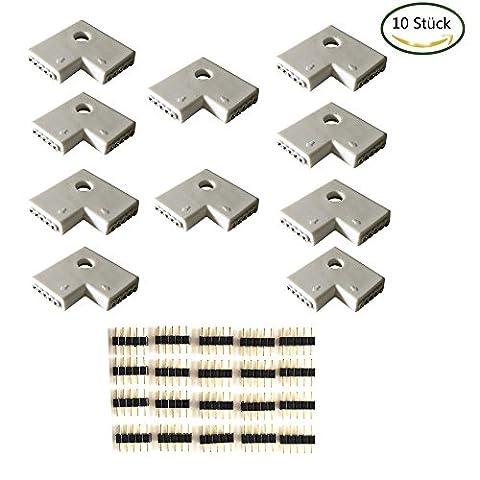 10pcs/pack LED RGBW 10 mm connecteur d'angle, en forme de L connecteur rapide, connecteur Connector, lumière LED bande LED pour 5050 bande LED RGBW, LED Strip Lights, bande LED RGBW [Classe énergétique A + +]
