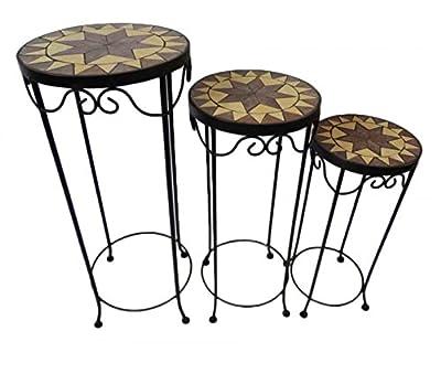 Gravidus 3er Set Mosaik Blumenhocker Tisch Beistelltisch aus Metall rund