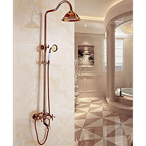 Europeo rame antico doccia pioggia dorata imposta rubinetto calda e fredda doccia regolabile , rose gold