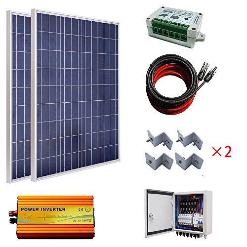 El paquete incluye: - 2 piezas 100W 18V panel solar poli con conector MC4 - 1 caja de combinación de 6 cuerdas PV. - 1 inversor de onda sinusoidal pura de 1000 W de 220 V. - 2 juegos de kit de montaje estilo Z. - 1 controlador solar de 15 A. - 1 par ...