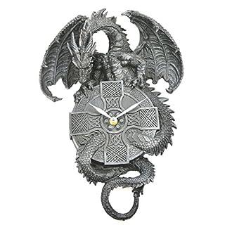 Ars-Bavaria Stylische Wanduhr Schwarzer Drache Protector of Time Drachenuhr Dark