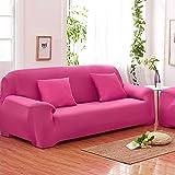 Sofás De 3 Plazas Covers 7 Colores Sólidos Estuche De Estiramiento Completo Tela Elástica Soft Sofá Funda Sofá Protector Muebles De Casa ( Color : Rosa roja )