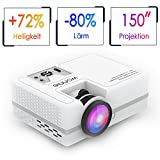 Beamer Projektor, WONNIE 2200 Lumen LED Mini HD Heimkino Projector Unterstützung 1080P Video HDMI VGA Decke / Stativ Installation für Smartphone, iPhone, iPad, Laptop, Tablette