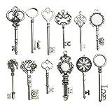 Breloque porte-clé en forme de squelette de style steampunk pour fabrication de bijoux et porte-clés à faire soi-même, vente en gros Silver Huge Key...