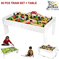 Kids Wooden Activity White Table and 90 Piece Train Set Car Track + Accessories For Xmas Birthday Gift HYGRAD®