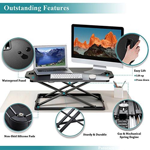 PUTORSEN Höhenverstellbar Sitz-Steh-Schreibtisch Computertisch - Schreibtischaufsatz Steharbeitsplatz Standtisch - Tabletop Stehpult Konverter für Ergonomic Comfort (32'' - Schwarz) - 3