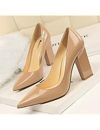 WENJUN Chaussures À Talons en Cuir De Mode Sauvage A Souligné Bien avec L'air Latéral 3cm Talons Hauts Couleur Nude Chaussures Femmes (Couleur : Black 3 cm, Taille : 37)