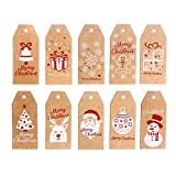 LOKIPA 100Pieces 10 Styles Christmas Kraft Present Gift Tags Hang Labels with 100 Feet Cotton String and 100 Feet Natural Jute String (Brown)