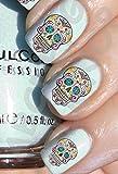 AWS - Juego de calcomanías de agua de calaveras mexicanas floreadas. Pegatinas para uñas, nail art, decoración.