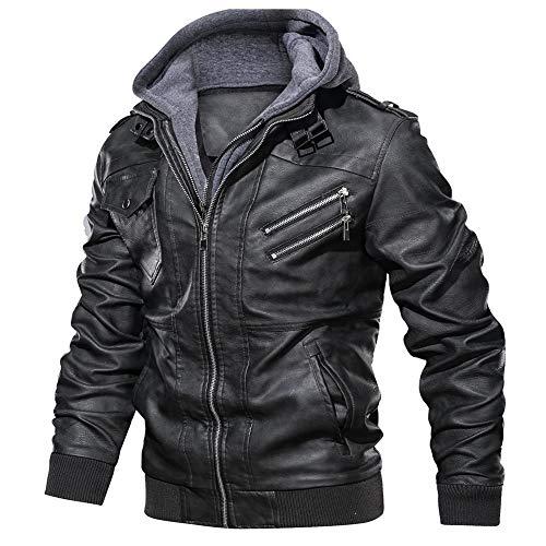 FEDTOSING Lederjacke Herren Kunstlederjacke Abnehmbarer Kapuze Cargojacke Winterjacke Slim Fit(Black B XL)