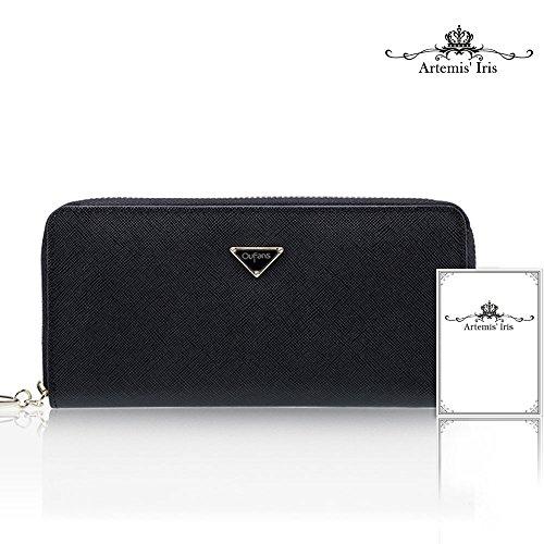Artemis'Iris Womens grande capacità Zipper il portafoglio in vera pelle con il supporto del telefono carte dell'organizzatore della frizione lungo della borsa, il nero black