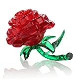 JinZhiCheng Creative Plastic 3D Crystal Rose Puzzles for Adults Brain Teaser Puzzles (Red)