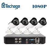 Techage Full HD 4CH 1080P Système de vidéosurveillance HDMI AHD-H DVR 2MP 3000TVL P2P IR Night Vision Kit de caméra vidéo de sécurité intérieure / extérieure sans disque dur