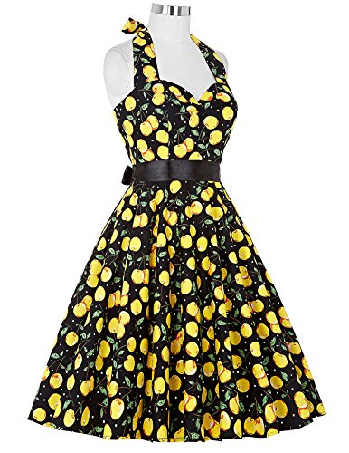50s Retro Vintage Rockabilly Kleid Neckholder Festliches Kleid Petticoat Kleid CL6075-20