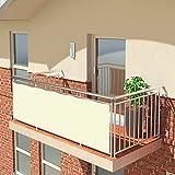 BALCONIO PREMIUM Balkonbespannung - 300 x 85 cm - CREME - wasserabweisend