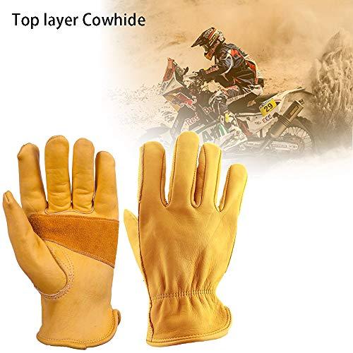 Qbuds Guantes clásicos para motocicleta, estilo vintage, piel de vaca, para uso en verano, color amarillo