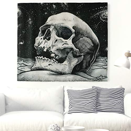 Einfarbig Schädel Kopf Wandteppich Sternenhimmel Universum Kunstwerk Wanddekor Wanddecke Indische Mandala Skull Wandkunst Tapisserie Böho Strandwurf Halloween Wandbehang Tischdecke Weiß 79x59inch