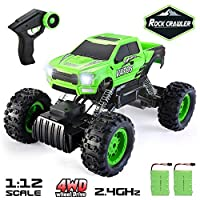 VATOS 1:12 Remote Control Car Rock Crawler RC Cars Monster Truck Radio Controlled 4WD 2.4Ghz Dual Motors Rechargeable Off Road Vehicle Truck Best Gift Toy for Adults and Kids Hobby Racing Car