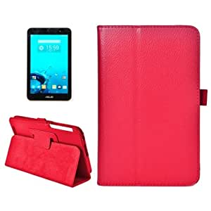 Litchi Texture Horizontal Flip Leather Case with Holder for ASUS MeMo Pad 7 ME176C(Red)