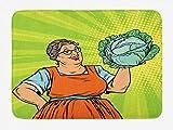 YnimioHOB Estera de tía para baño, Anciana con Estilo cómic Mujer Sonriente Chef Hipster Pop Art Design, Alfombra de baño de Felpa con Respaldo Antideslizante
