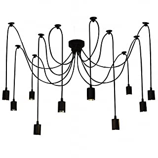 Lixada 10 Lights Chandelier Lamp Holder E27 Ceiling Pendant Lamp DIY Spider Light Antique Classic Adjustable Dining Hall Bedroom Home Lighting Accessories