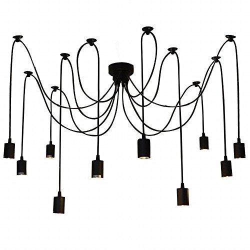 Lustre araignee,Lixada E27 Douille Rétro Industriel abat-jour Suspensions Noir,DIY Ajustable Longueur,avec 1.8m fil, 10 bras (pas d'ampoule)