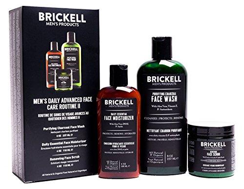 Brickell Men's Products Routine Quotidienne Avancée Soins Visage II - Nettoyant Visage au Charbon Actif + Gommage Visage + Crème Hydratante Visage - Naturel et Bio