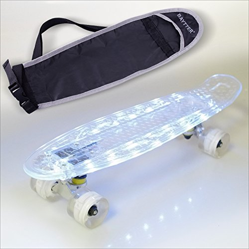 BAYTTER 22 Zoll Mini Cruiser Skateboard Komplett Board 55cm transparent mit LED Deck und LED Leuchtrollen USB Kabel, 95A Rollenhärte, 85A PU Rädern und ABEC-5 Kugellager (transparent mit LED) (Nike-kabel)