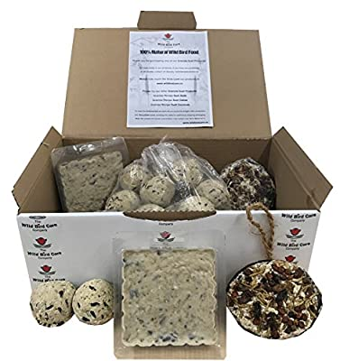 The Wild Bird Company Suet Selection Gift Box - 2 x Granola Suet Fat Coconuts - 2 x Granola Suet Fat Cakes Blocks - 16 x Granola Suet Fat Balls by The Wild Bird Care Company