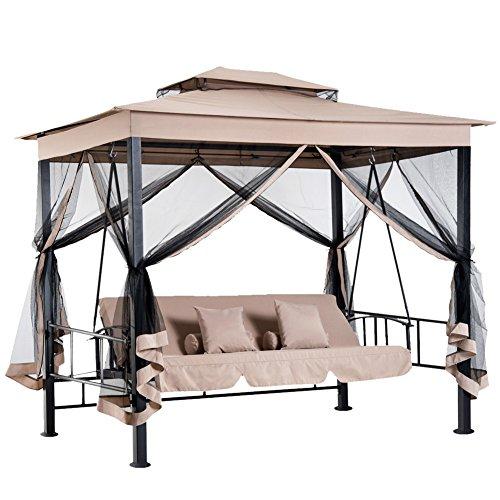 Bakaji gazebo parasole da giardino con dondolo letto e zanzariere 3 posti, modello extra-lusso cleopatra, amaca altalena trasformabile in letto matrimoniale, colore beige
