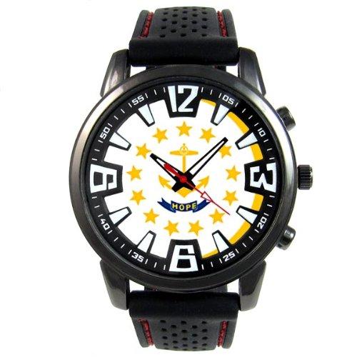 Rhode Island EE.UU. Estado Reloj para hombre con correa de silicona